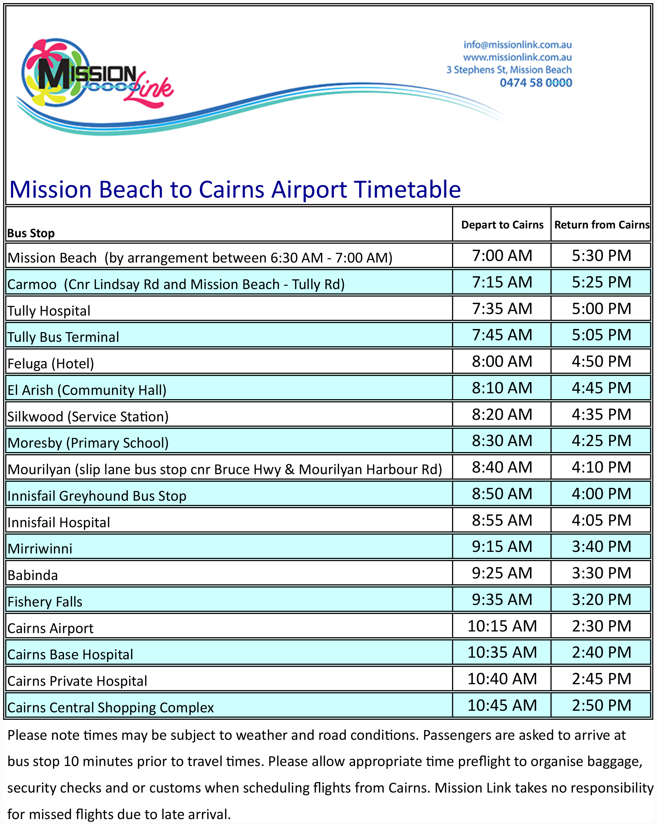 Timetable Mission Beach to Cairns
