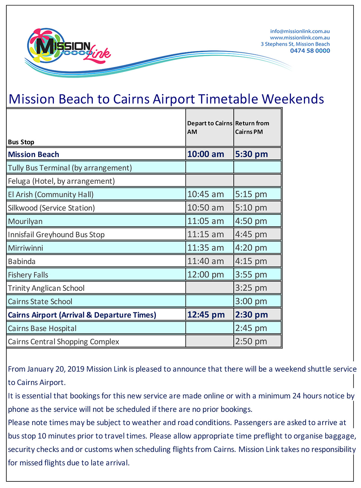 Weekend Airport Bus Timetable