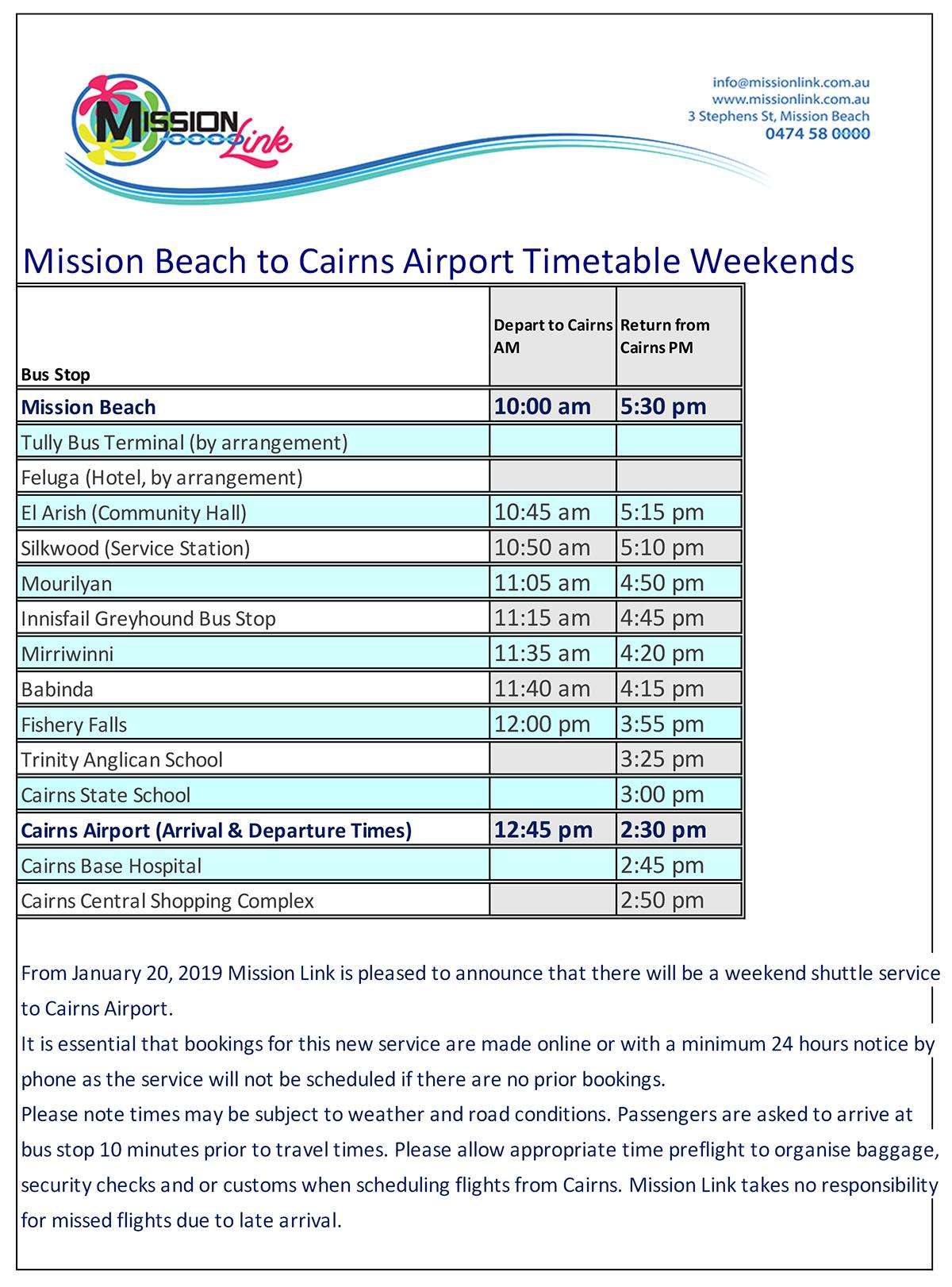 Weekend Airport Bus Timetable